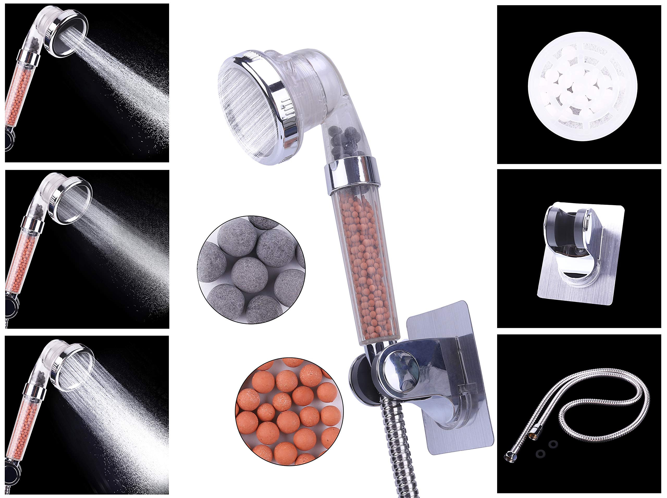 Filtered Hand Held Shower Head Kit, Water Saving Home Spa Shower Head with 3 Settings, Reduces Hair Loss, Purify Water&Remove Chlorine, Hose & Mount Included, Easy Install (Plus a Shower Hose&Mount)