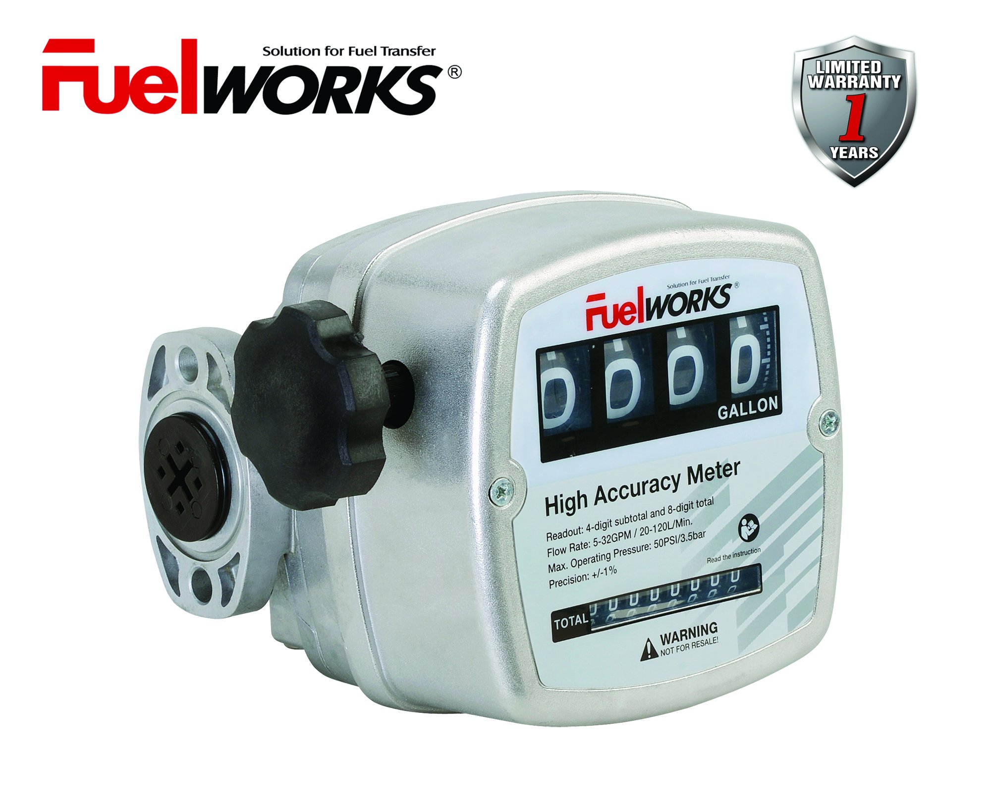 FUELWORKS Oval Gear Inline Meter for Diesel Fuel with 3-26 GPM, 3/4'' Inlet Size, 1 Year Warranty