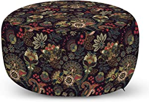 Lunarable Paisley Ottoman Pouf, Persian Bohemian Design Pastel Vintage Eastern Folk Motif Classic, Decorative Soft Foot Rest with Removable Cover Living Room and Bedroom, Black Green