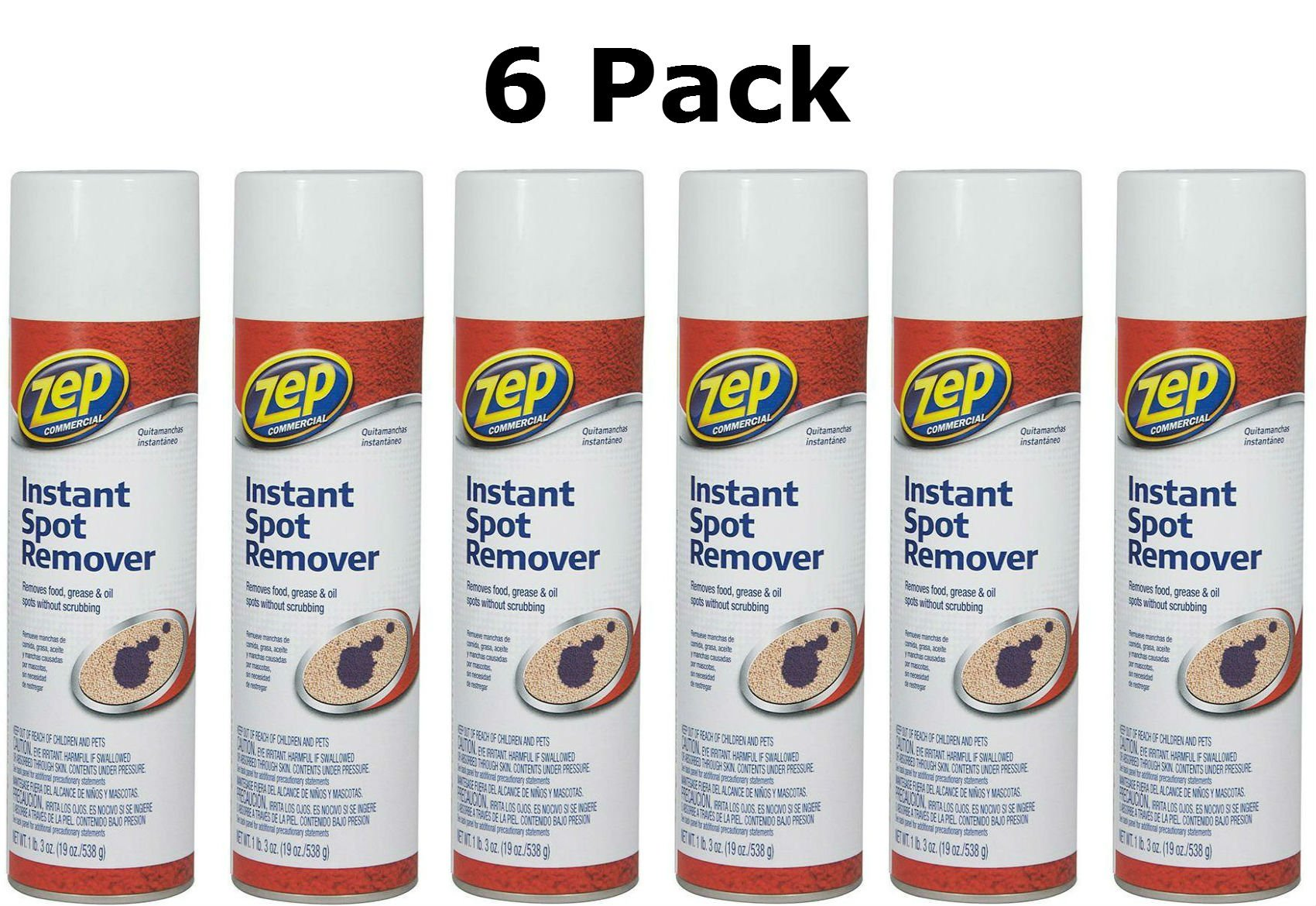 Zep Carpet Cleaner Commercial Instant Spot Remover, 19 Oz (6 Pack)