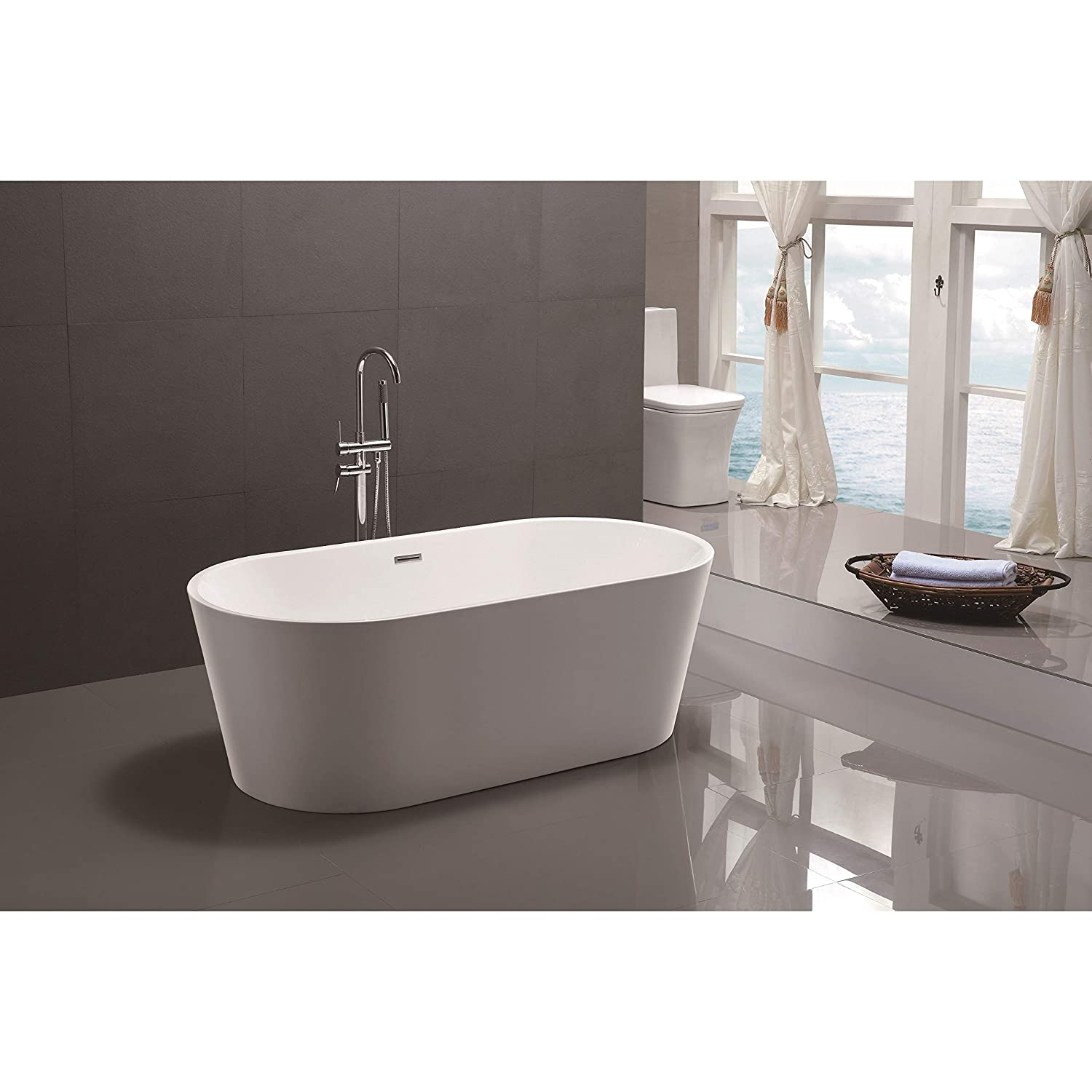 Vanity art 59 inch freestanding acrylic bathtub modern stand alone soaking tub with chrome finish upc certified slotted overflow pop up drain