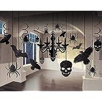 Amscan 248678-55 - Decoratieset glitterkroonluchter, 17-delig, van papier en folie, 9,1 tot 60,9 cm, Halloween…