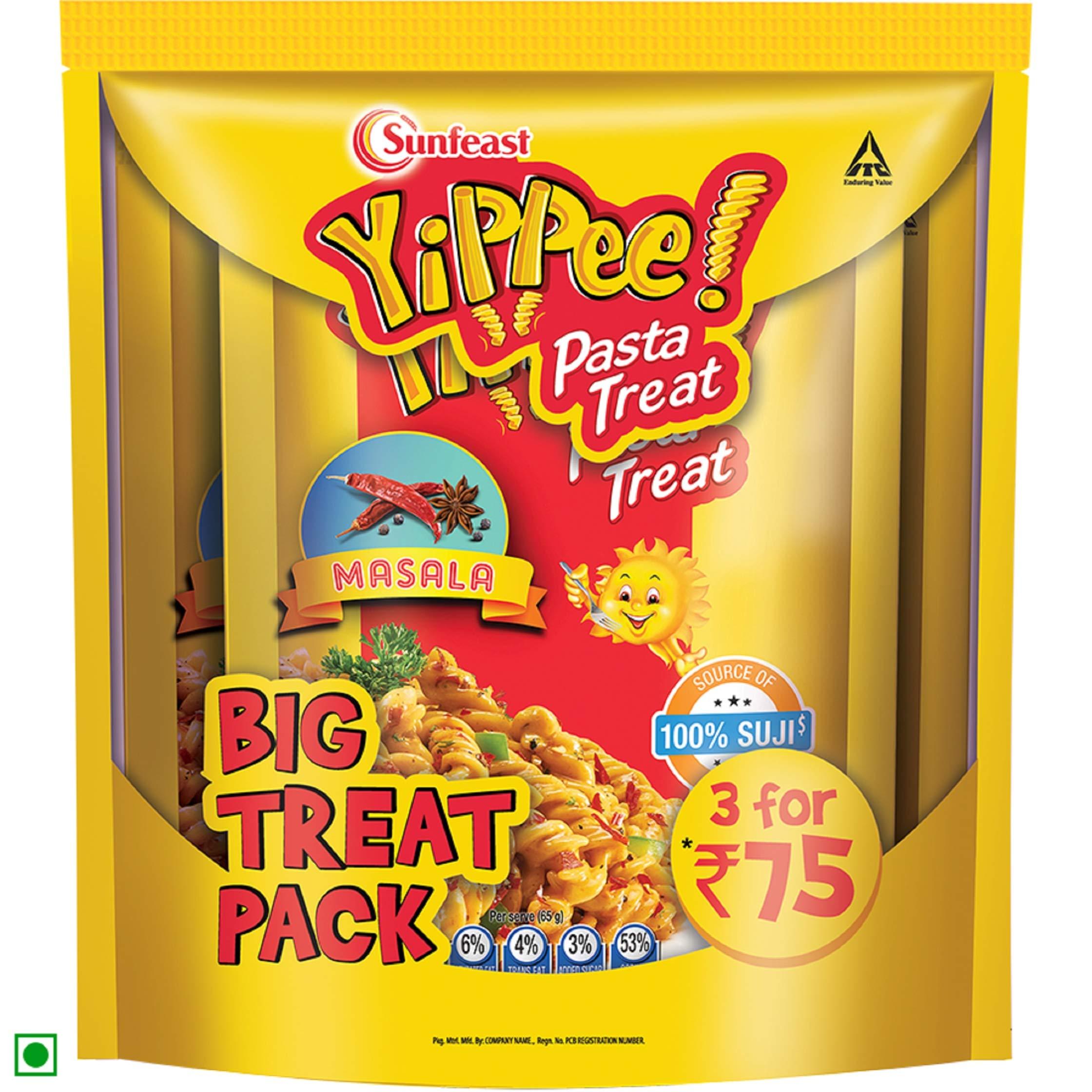 Sunfeast YiPPee! Pasta Treat | Cheesy and Soft Suji, Rawa Pasta | Masala | 195g Pack