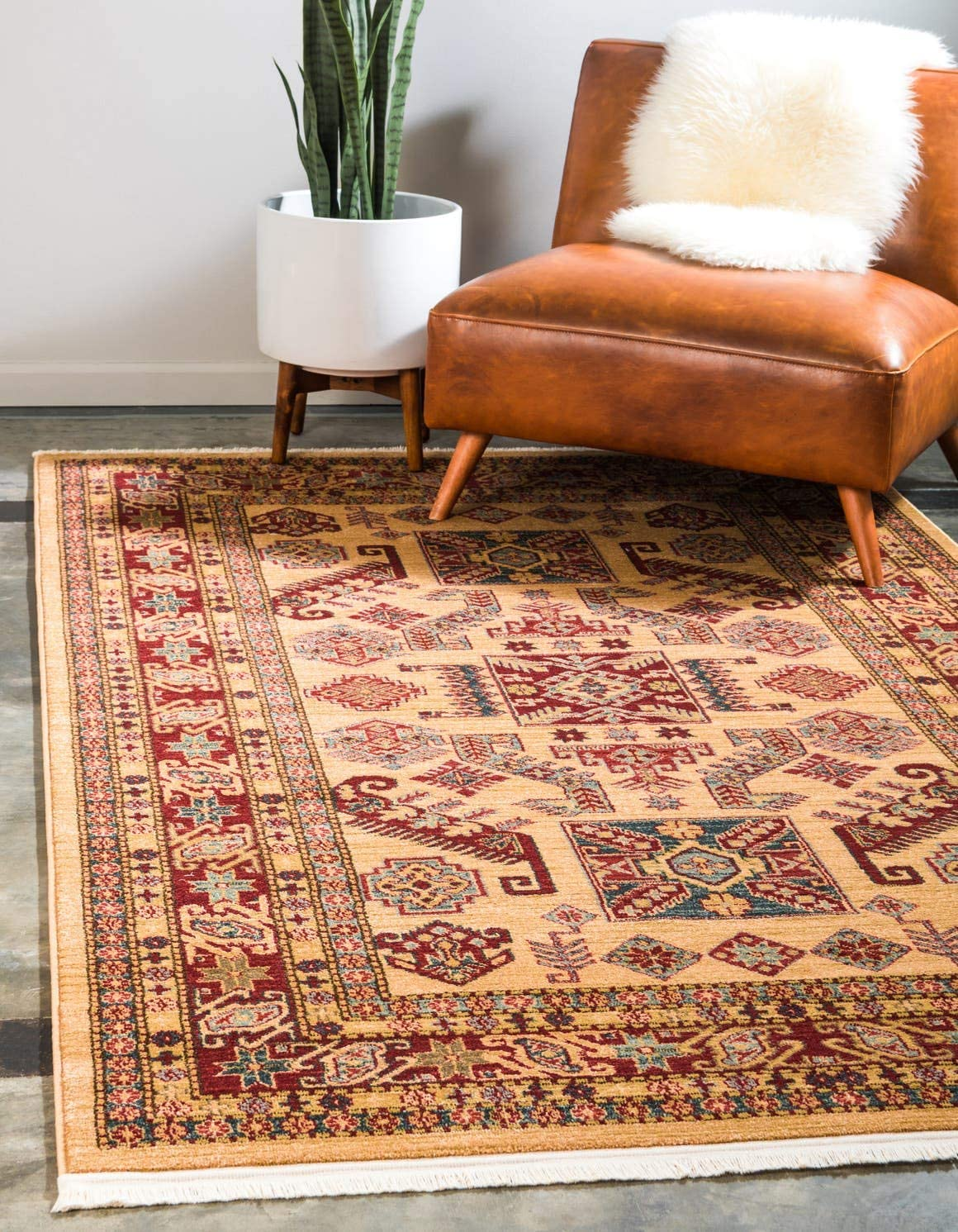 Unique Loom Sahand Collection Traditional Geometric Classic Beige Area Rug 2 2 x 3 0