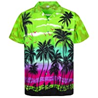 V.H.O. Funky Hawaiian Shirt | Men | XS-12XL | Short-Sleeve | Front-Pocket | Hawaiian-Print | Beach Palms Summer | Different Colors