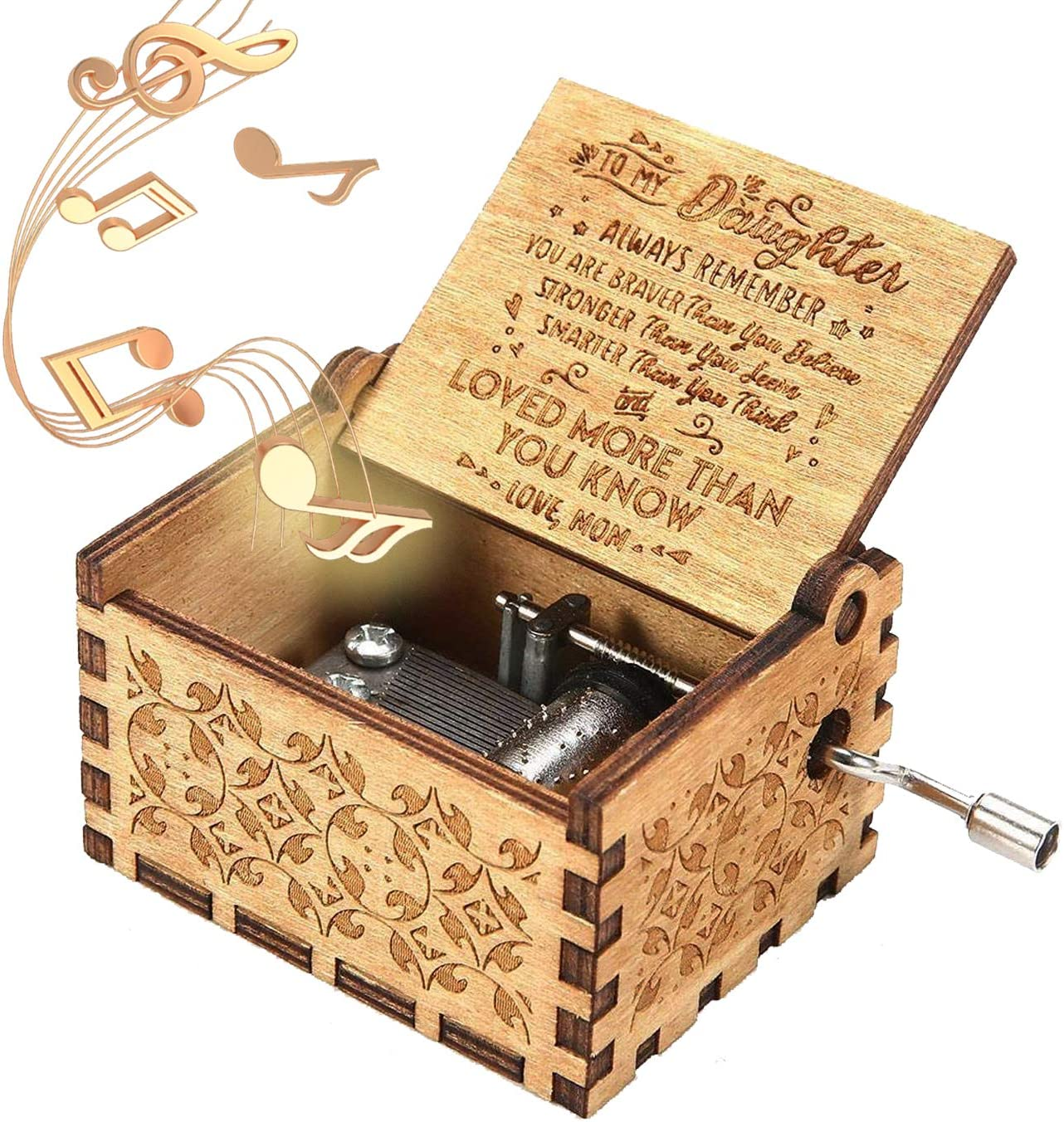 Unique Design Music Box for Wife 1 Set from Husband to Wife ukebobo Wooden Music Box- Color Painting You are My Sunshine Music Box