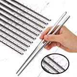 Omia 5 Pairs Premium Reusable Metal Stainless Steel Chopsticks Dishwasher Safe Lightweight Easy to Use Metal Chop Stick Utens