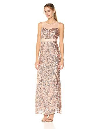 5adb54af0eb Adrianna Papell Women s Sequin Mermaid Dress with Illusion Neckline at  Amazon Women s Clothing store