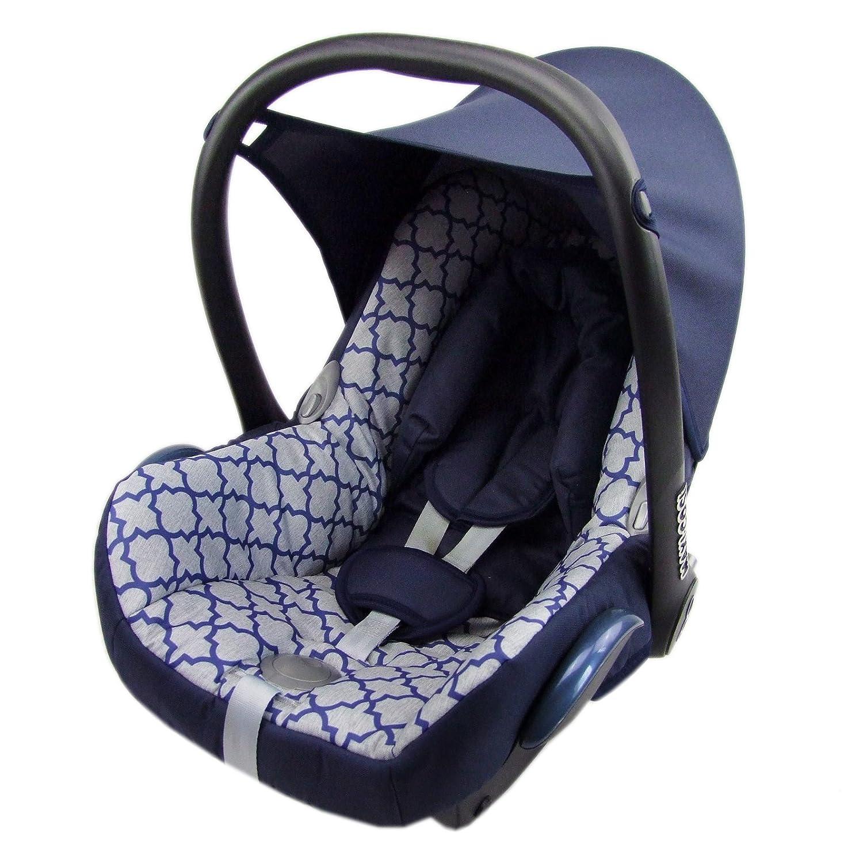 Bambiniwelt Ersatzbezug Für Maxi Cosi Cabrio Fix 6 Tlg Bezug Für Babyschale Sommerbezug Marine Hellblauen Muster Baby