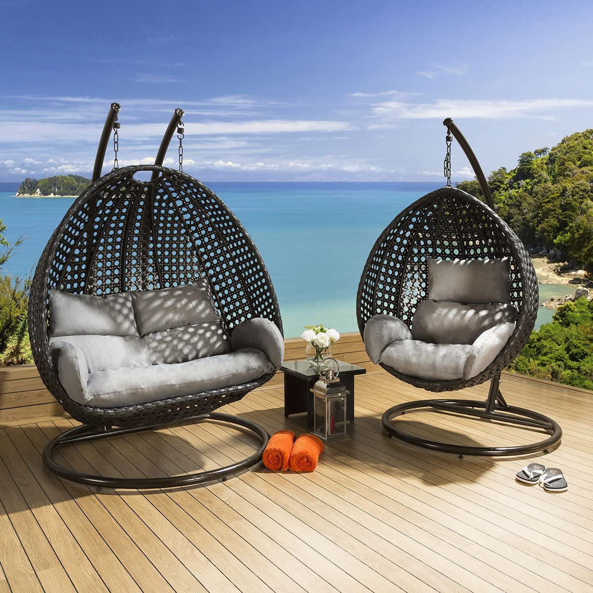 Outdoor Garden Single And Double Hanging Pod Chair Set Black Grey Amazon Co Uk Garden Outdoors