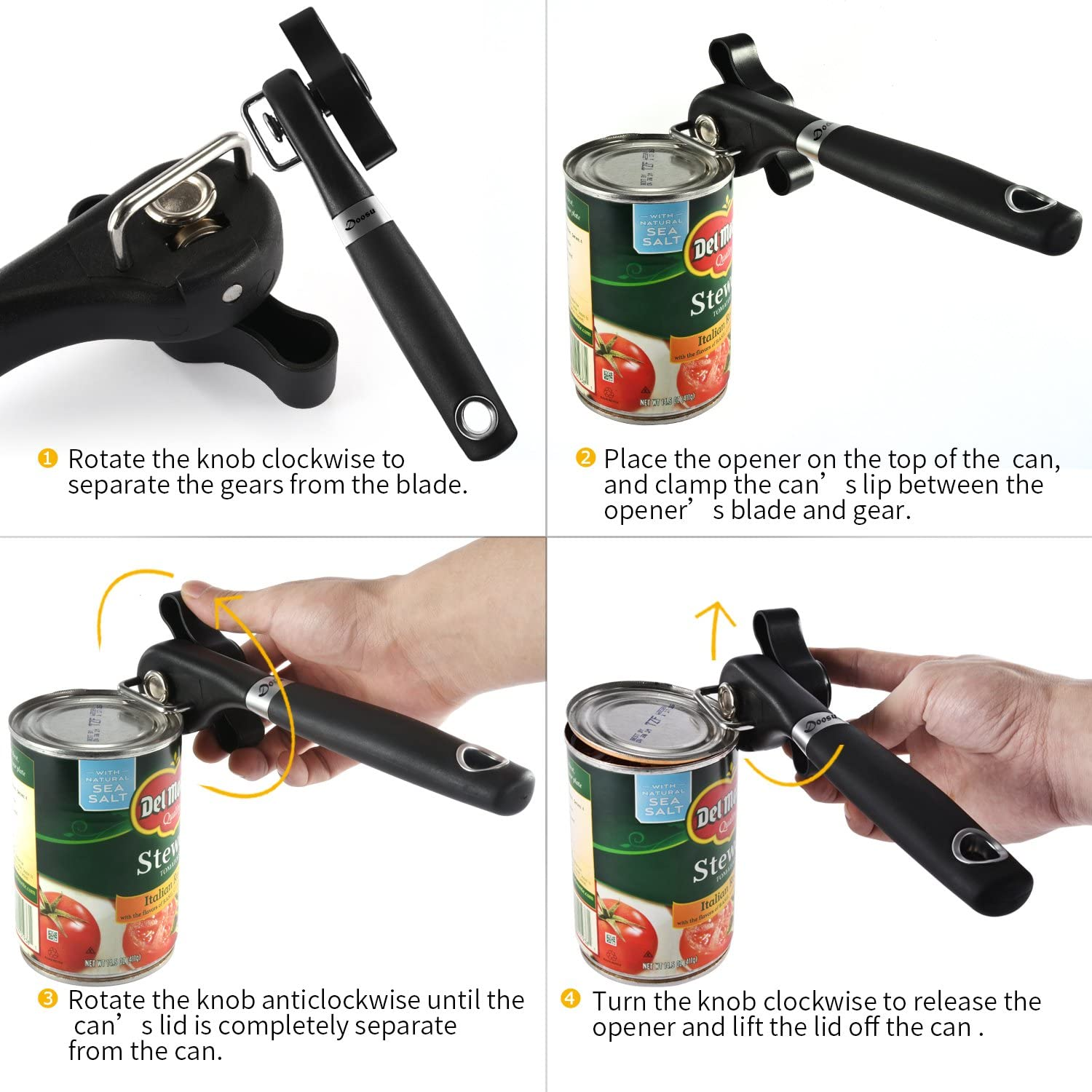 Can Opener Smooth Edges Extra Sharp Stainless Steel Cutting Wheel CO-SE01 U-Taste Side-Cutting Safety Can Opener Manual