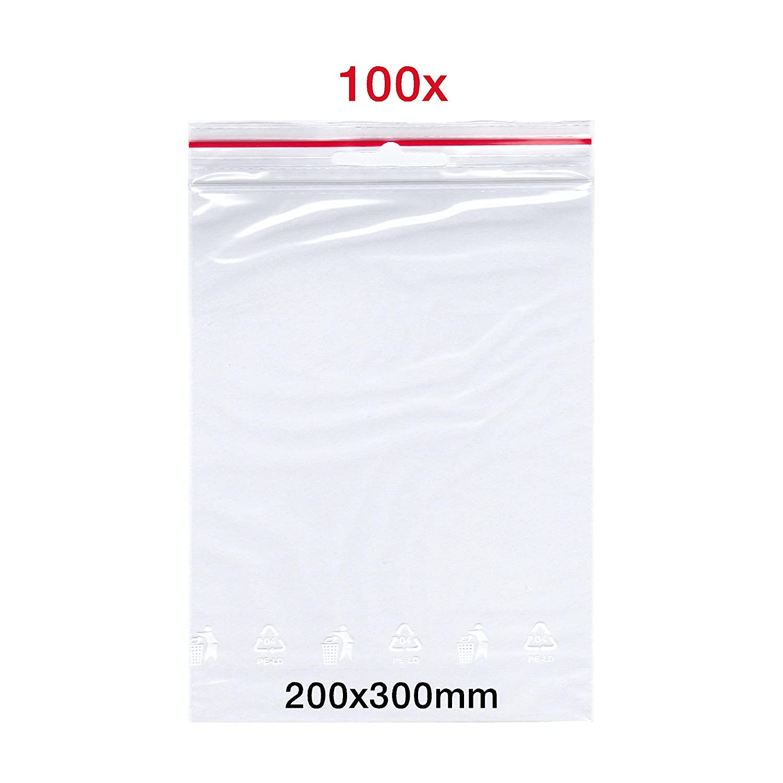 100 X Bolsas con cierre a presió n, 200 x 300 mm, Zip de bolsa | FolderSys Bolsa | bolsas de cierre rá pido | Zip Cierre Bolsa | Bolsa | fabricado en Alemania | de Smart packtm 200x 300mm Germany