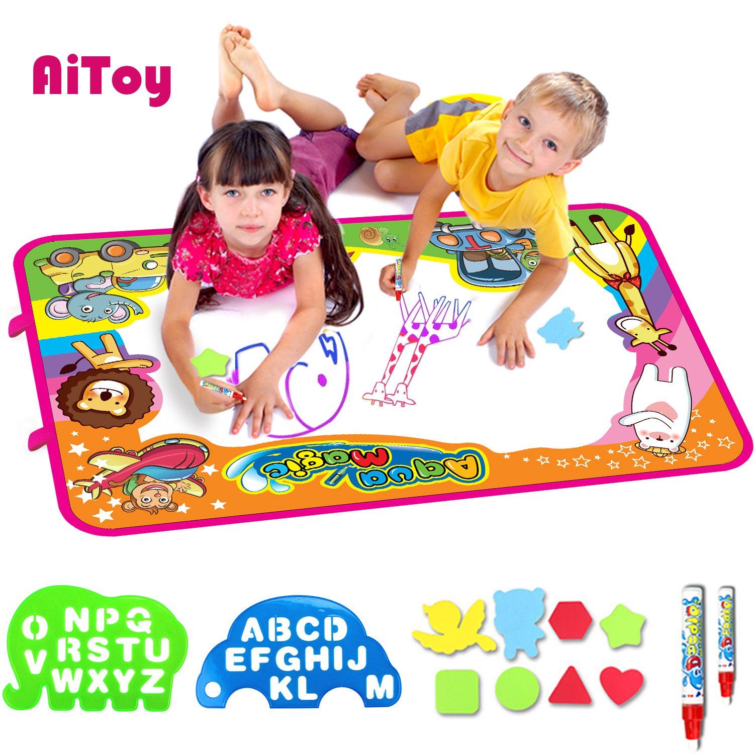 AiToy Aqua Magic Mat, Water Drawing Mat Extra Large Kids Toys Toddlers Painting Board Writing Mats with 2 Magic Pens and Letter Templates for Boys Girls Gift Size 34.5'' X 22.5'' (X-Large)