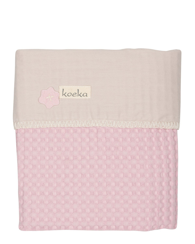 Koeka ledikantdeken wafel//flanel Antwerp old baby pink//pebble