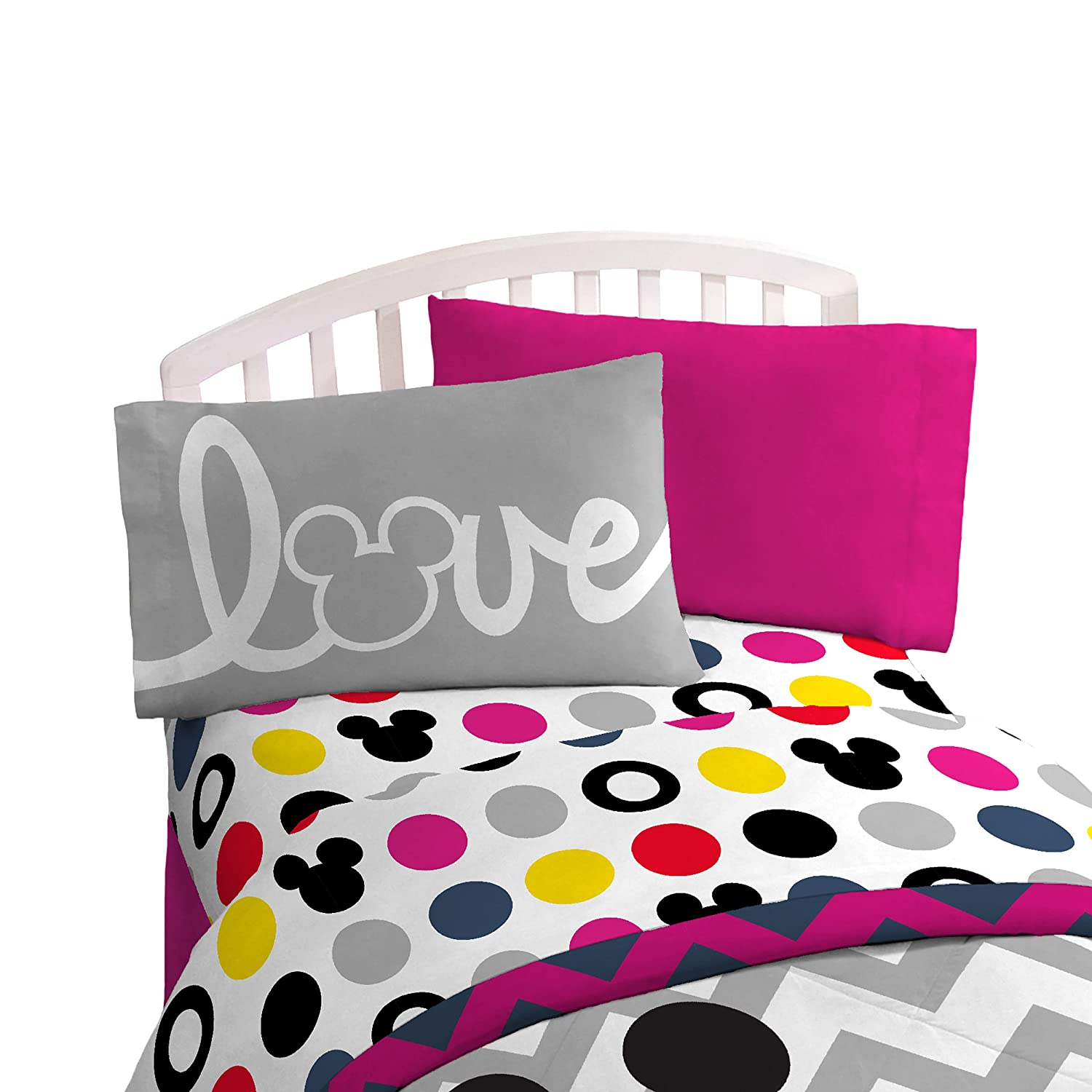 "Disney Mickey Mouse Chevron & Dots54"" x 75"" Full Sheet Set, Pink/Yellow/Black"