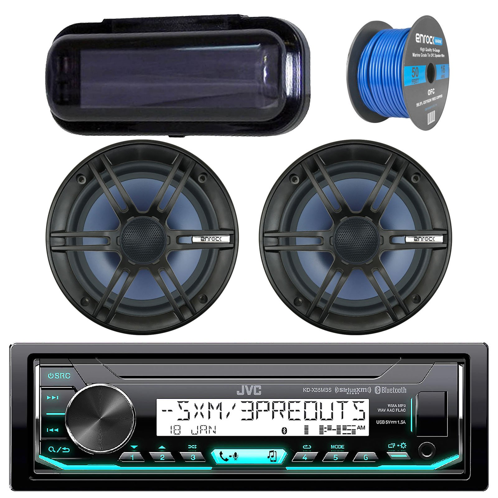 JVC In-Dash Marine Boat Bluetooth Radio USB Receiver Bundle Combo with Pair of Enrock 6.5'' Black Dual-Cone Stereo Speakers, Stereo Waterproof Cover, 18g 50ft Marine Speaker Wire