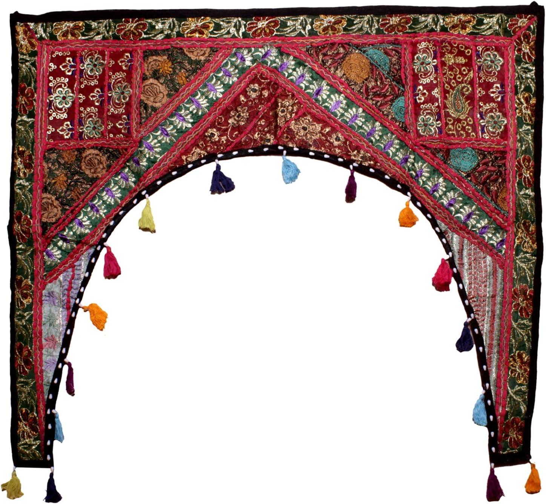 Cortina decorativa de patchwork Multi 1 39 X 38 Inches para ventana algod/ón para colgar en la puerta dise/ño de toran de bandana bordada