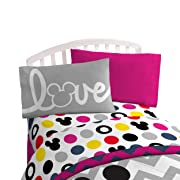 Disney Mickey Mouse Chevron & Dots 39  x 75  Twin Sheet Set, Pink/Yellow/Black