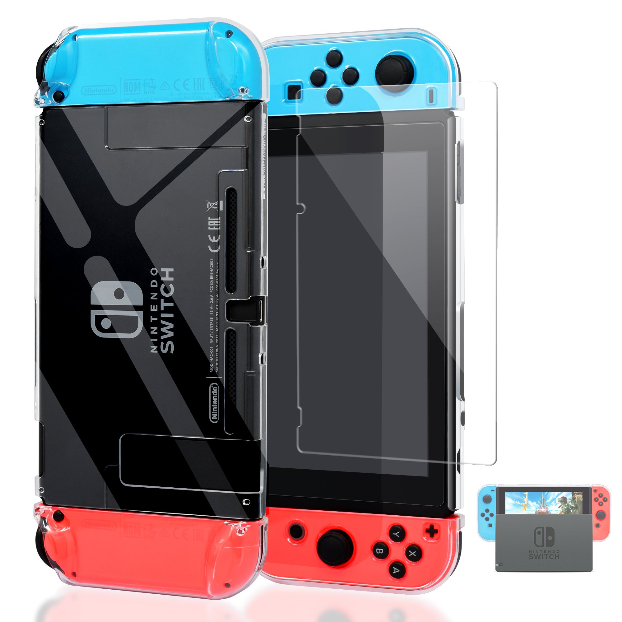 Dockable Cover Case for Nintendo Switch,Protective Case for Nintendo Switch with Screen Protector for Nintendo Switch - Crystal Clear