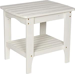 Shine Company 4113EW Indoor/Outdoor Rectangular Hydro-TEX Finish, Eggshell White Side Table