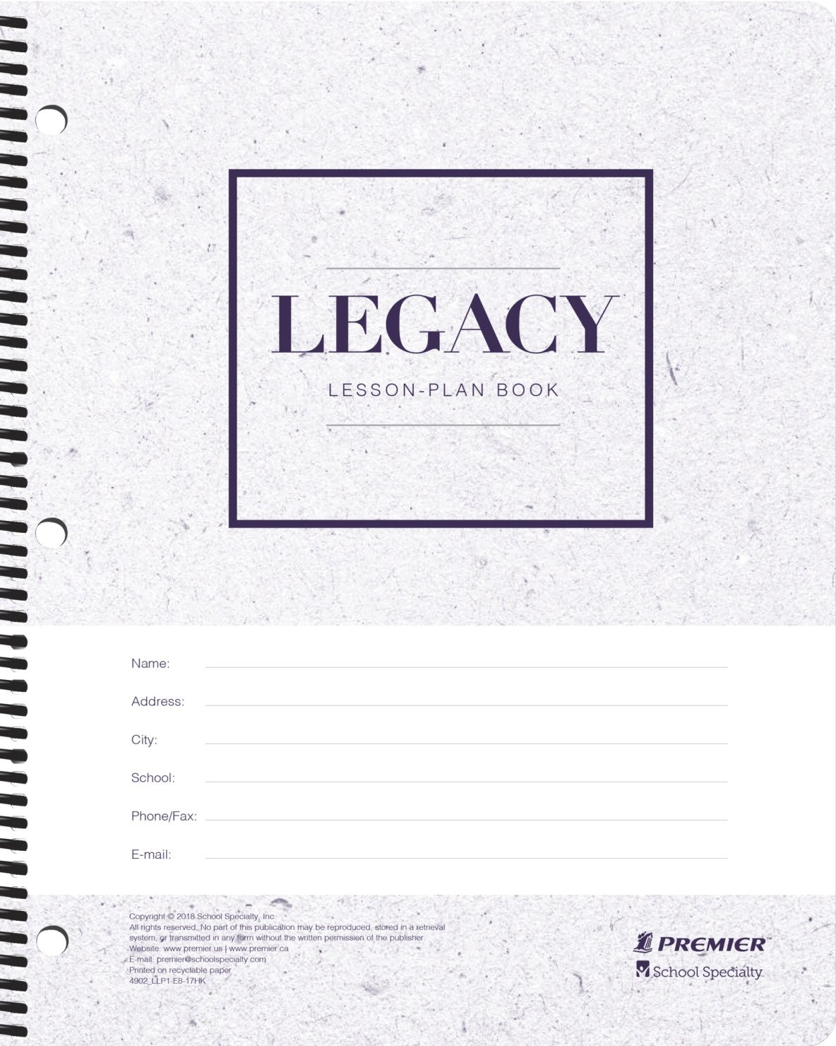 Premier 1597152 Legacy Weekly Lesson Plan Book, 256 Pages, 2018 to 2019, Null