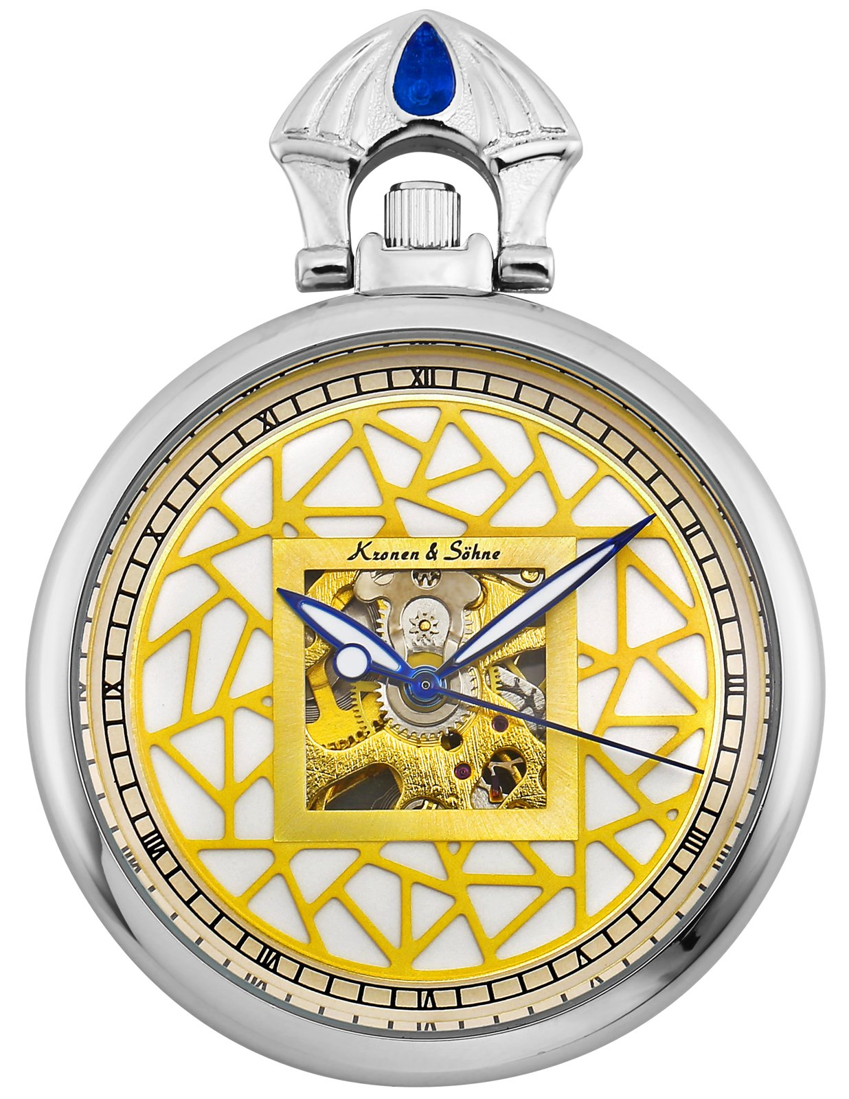 KS Full Hunter Abstract Pattern Dial Roman Numerals Skeleton Mechanical Pocket Watch KSP110