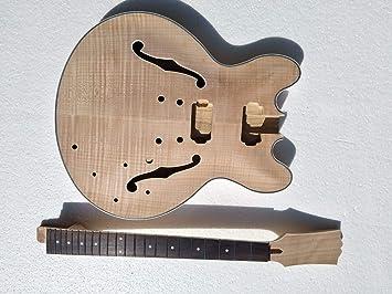 Proyecto Semi-Hollow cuerpo Kit constructor de guitarra eléctrica DIY: Amazon.es: Instrumentos musicales
