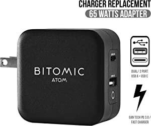 65W USB C Charger for HP, [Bitomic] GaN 2- Port Type C Fast Charging Power Adapter for HP Spectre X2 12 X2 13 Pavilion X2 HP Spectre X360 13-W063NR X2 13-V011DX X2 13-V001DX | Wall Charger | Black