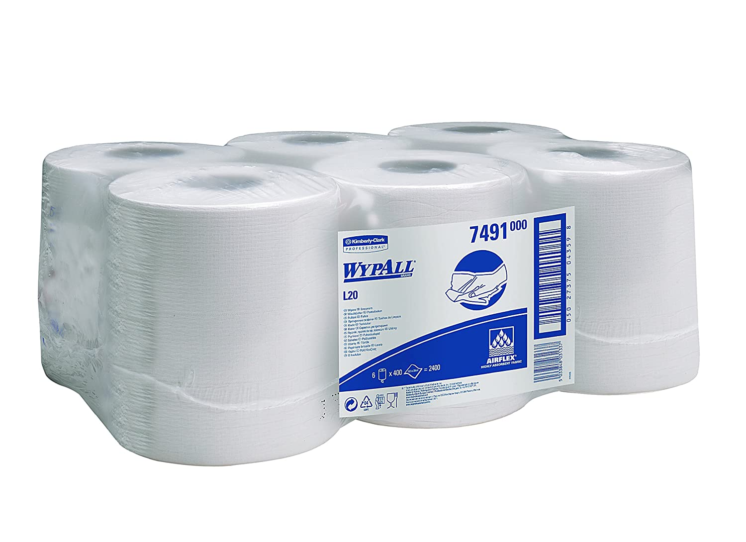 WypAll 7491 L10 Extra+ Wiper Centrefeed Roll Control, White, One Ply Sheets, 6 Rolls x 400 Kimberly-Clark Professional