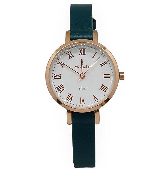 reloj mujer, marca Nowley, acero caja y números rosa, correa piel verde