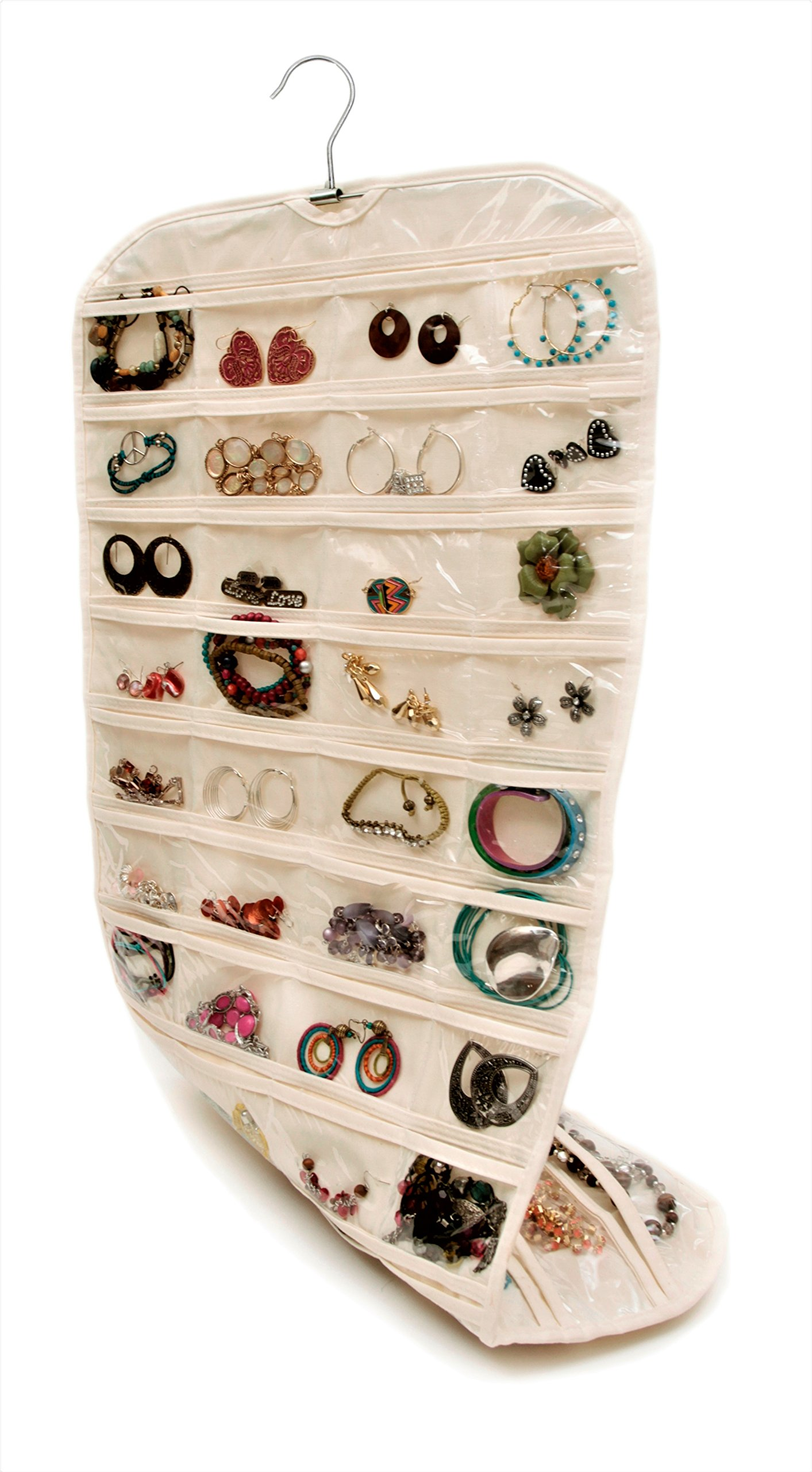 Closet Complete Premium Quality CANVAS, Hanging Jewelry Organizer | Double Sided, 360 Degree Rotation, 80 Pockets | Best for Jewelry & Accessory Organization