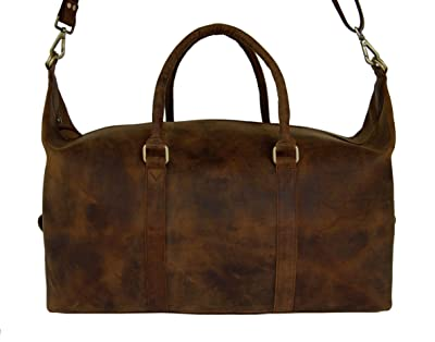 LeftOver Studio Expandable Weekend Overnight Travel Duffel Bag in Thick Oil Pull Hunter Water Buffalo Leather