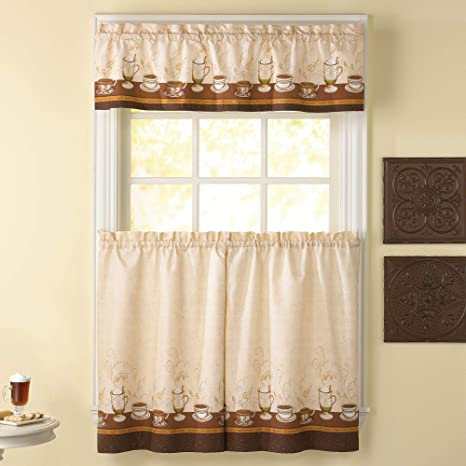3-Piece Window Kitchen Curtain Set Top Swag Tier Pair Panels Cafe and Latte