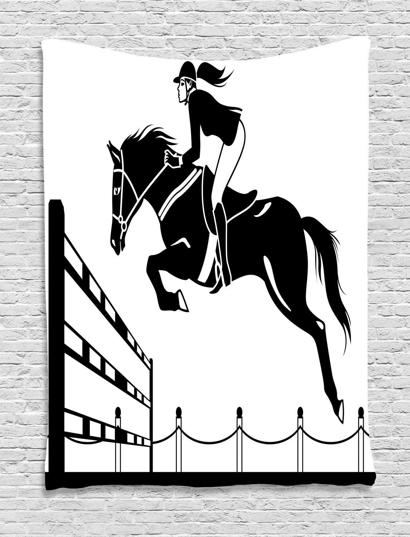 ABAKUHAUS Dibujos Animados Tapiz de Pared, Jockey Salto De La ...