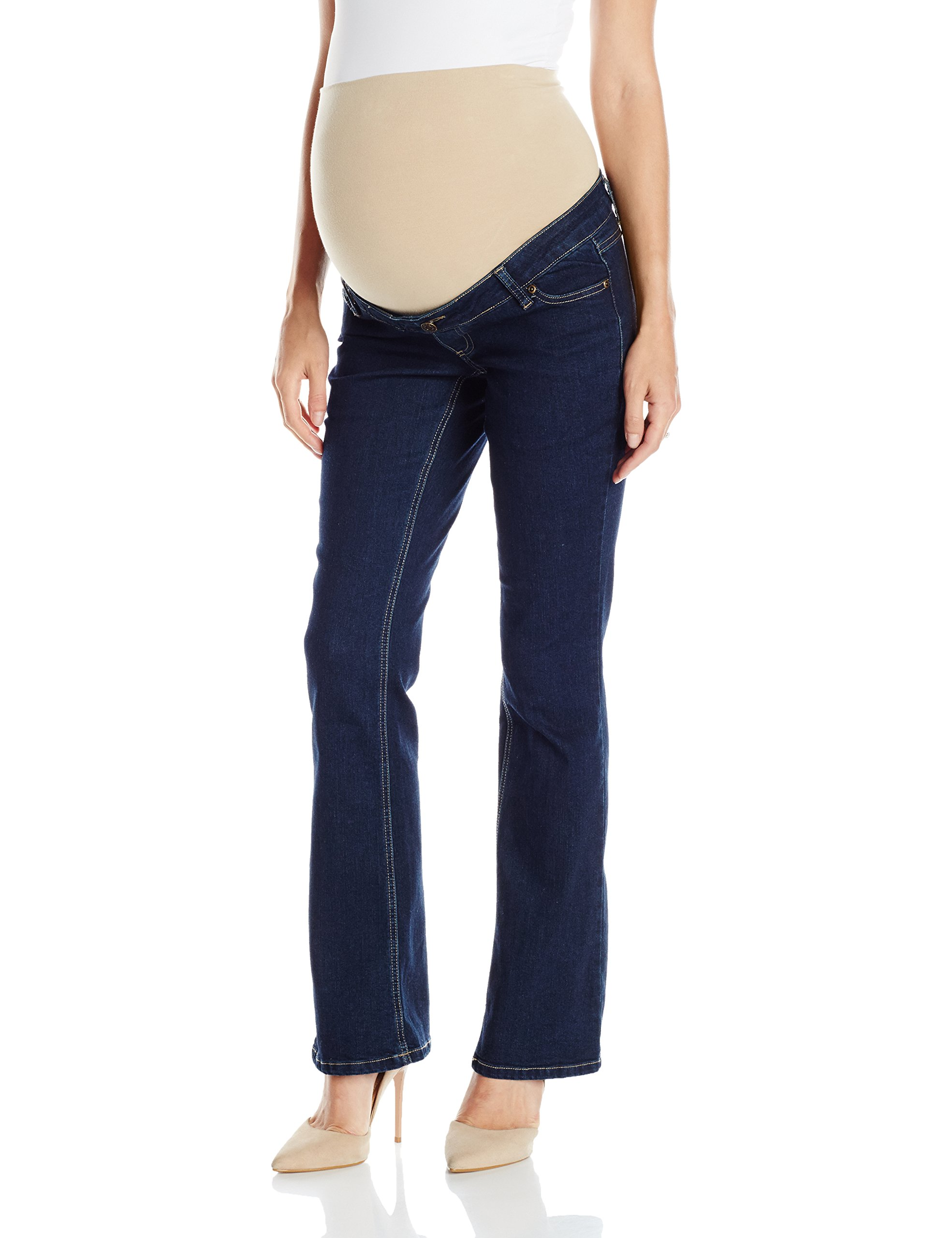 Three Seasons Maternity Women's Maternity Denim Flare Jean with Natural Bellie Band, Dark Wash, Large