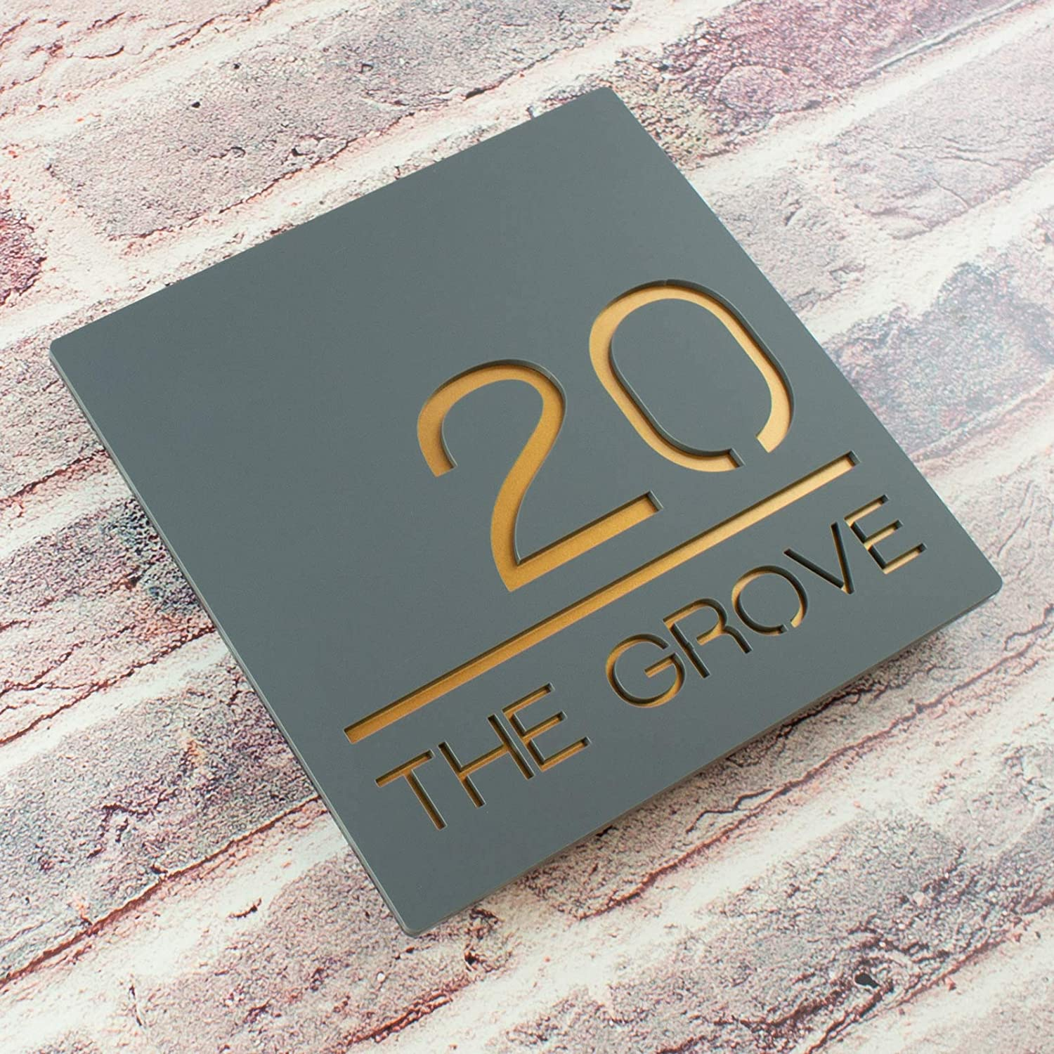 66f4c2cd6c7 Contemporary Acrylic Floating Square House Sign - Modern Door Number  Plaque  Amazon.co.uk  Handmade