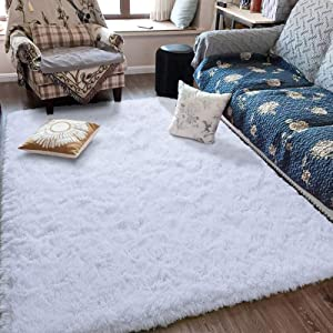 Fluffy Soft Kids Room Rug Baby Nursery Decor, Anti-Skid Large Fuzzy Shag Fur Area Rugs, Modern Indoor Home Living Room Floor Carpet for Children Boys Girls Bedroom Rugs, White 5 x 8 Feet