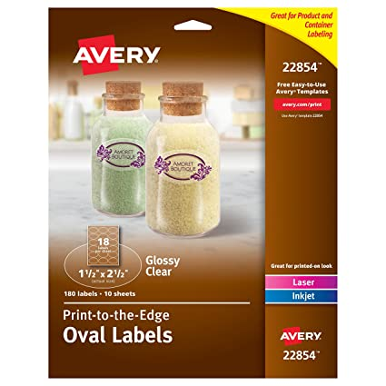 Amazon Avery Print To The Edge Glossy Clear Oval Labels 1 12