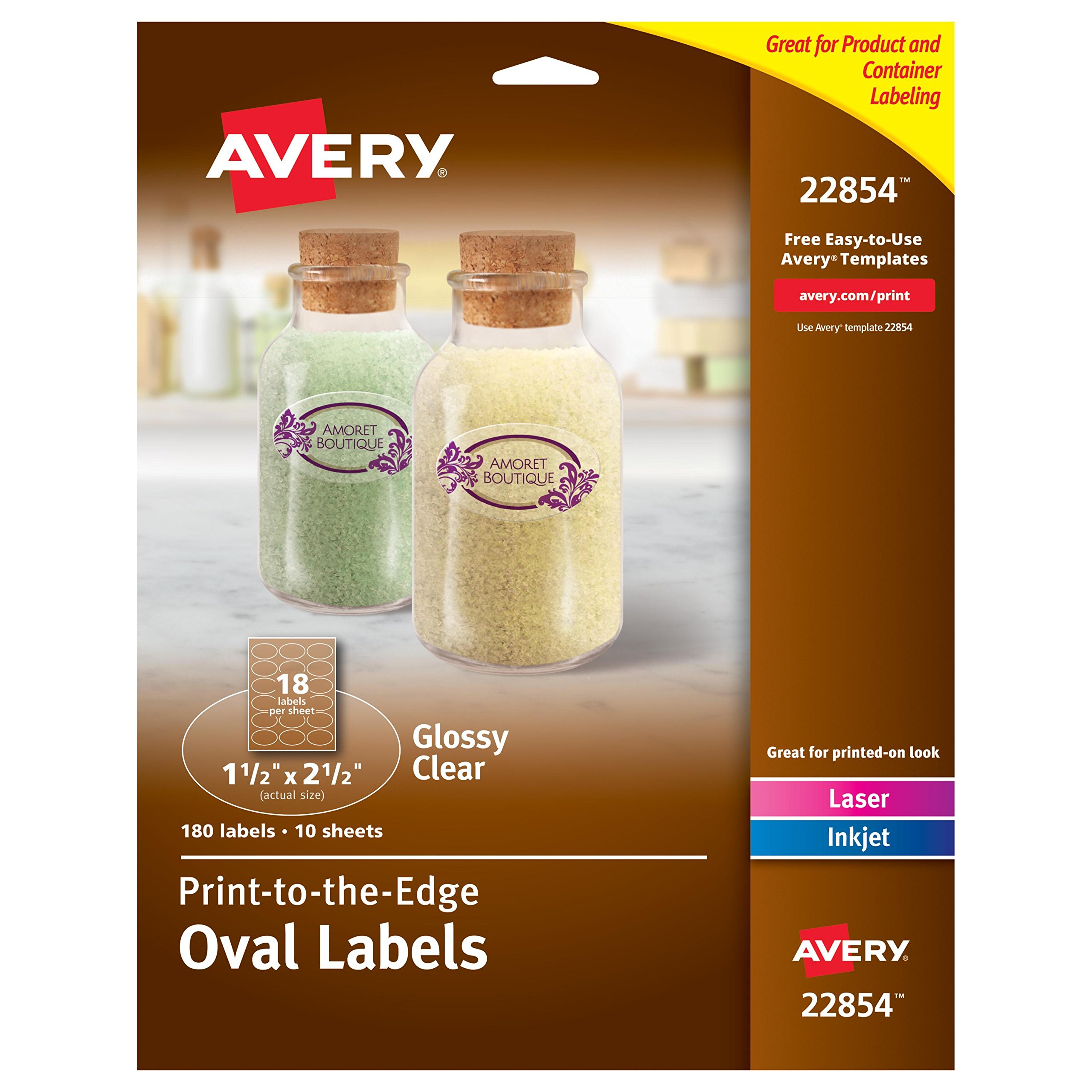 Avery Print-to-the-Edge Glossy Clear Oval Labels,1-1/2'' x 2-1/2'' Diameter, Pack of 180 Labels (22854)