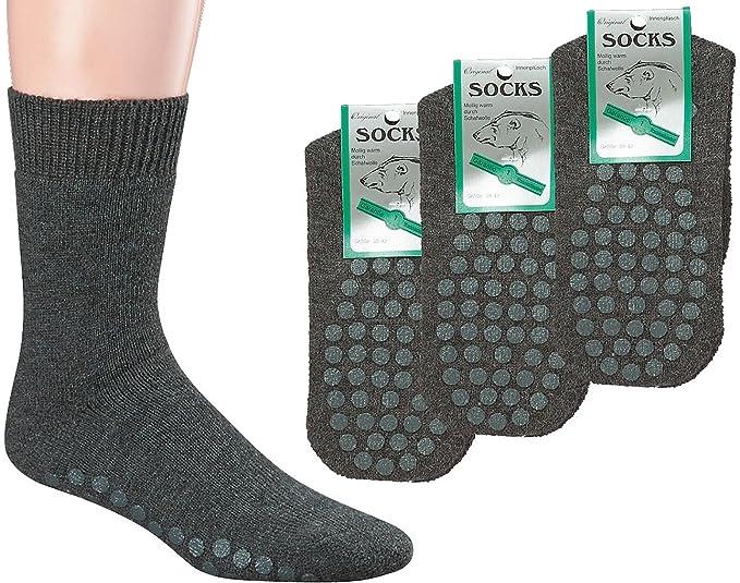 3 Pack Polar cálidos calcetines de ABS Completo de peluche, con lana de oveja, Super de calidad. Gris gris: Amazon.es: Ropa y accesorios