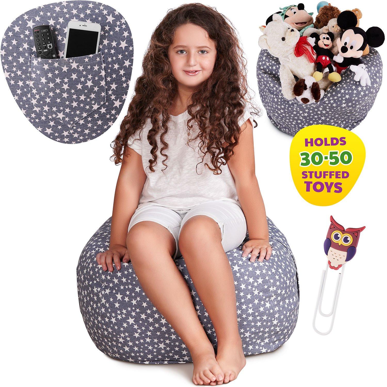 Premium Stuffed Animal Storage Bean Bag Chair Large Unisex Design And Multipurpose Perfect Decorative