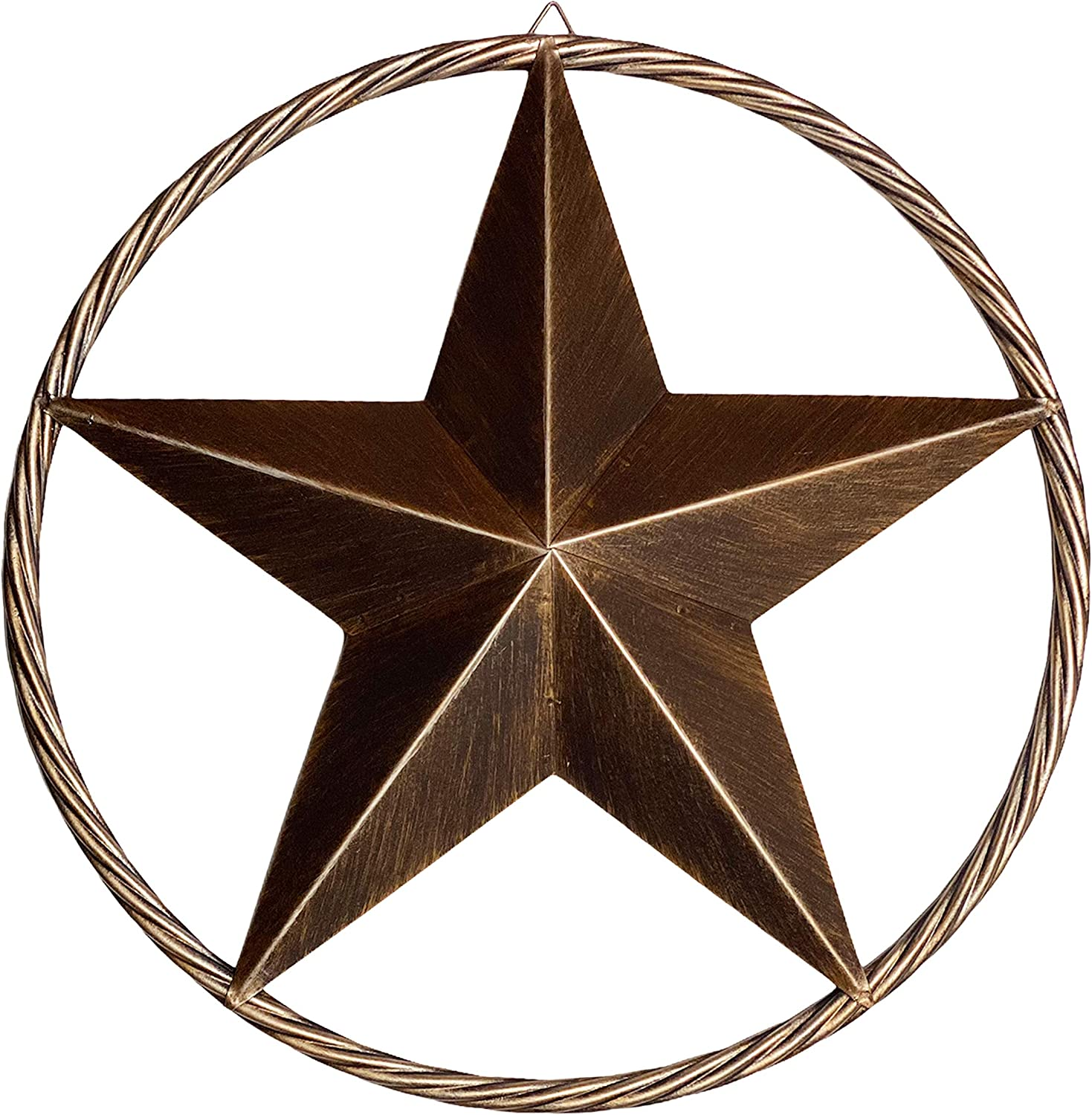 Urbalabs 12 Metal Barn Star Western Decor Twisted Rope Ring Rustic Wall Decor Texas Lone Star Dark Brown Metal Texas Home Wall Decor Indoor Outdoor Western Decor for Home