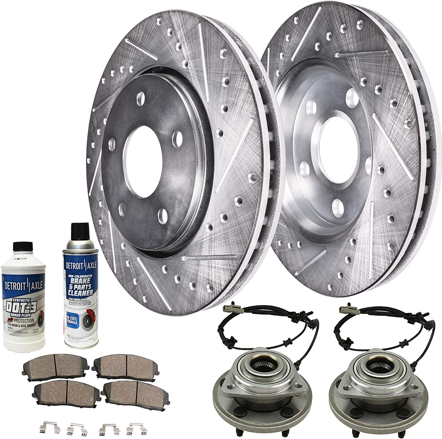 REAR Drilled Brake Rotor Ceramic Pad for 2006 2007 2008 2009 2010 Jeep Commander