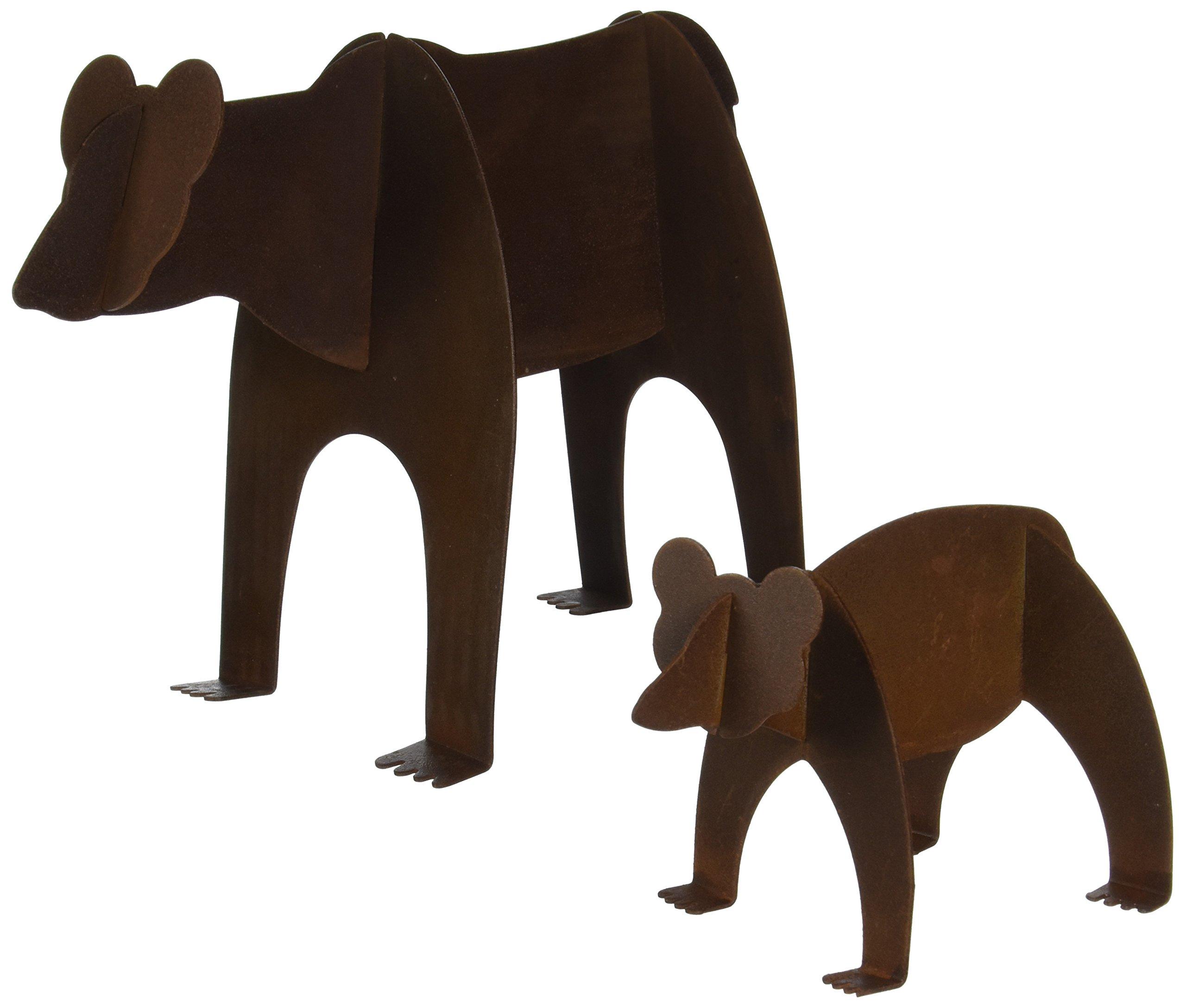 Fantasy Fauna MSSB-67 Bear and Cub Pre-Rusted Steel Sculpture, Medium Size