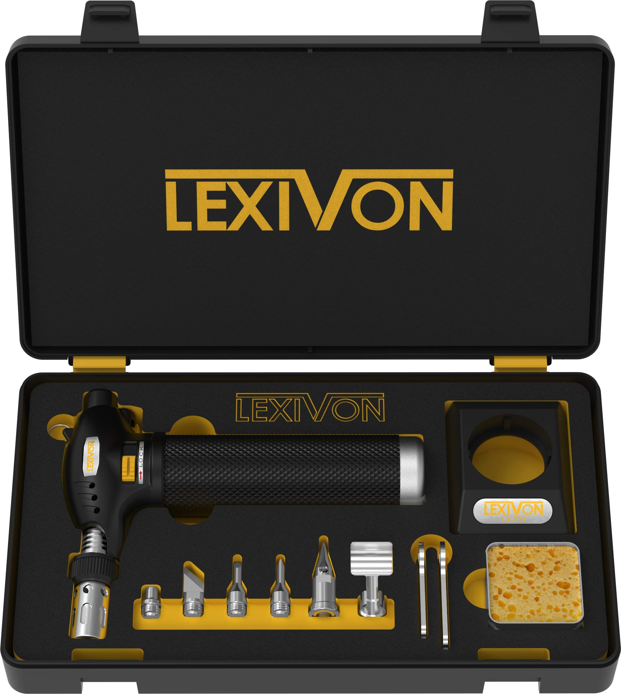 LEXIVON Butane Torch Multi-Function Kit | Premium Self-Igniting Soldering Station with Adjustable Flame | Pro Grade 125-Watt Equivalent (LX-771) by LEXIVON