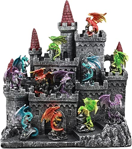 Ebros 12 Miniature Medieval Dragons with Castle Fortress Display Stand Figurine Statue 11 Tall Dragon Lair Casterly Rock Mini Dragon Display Set