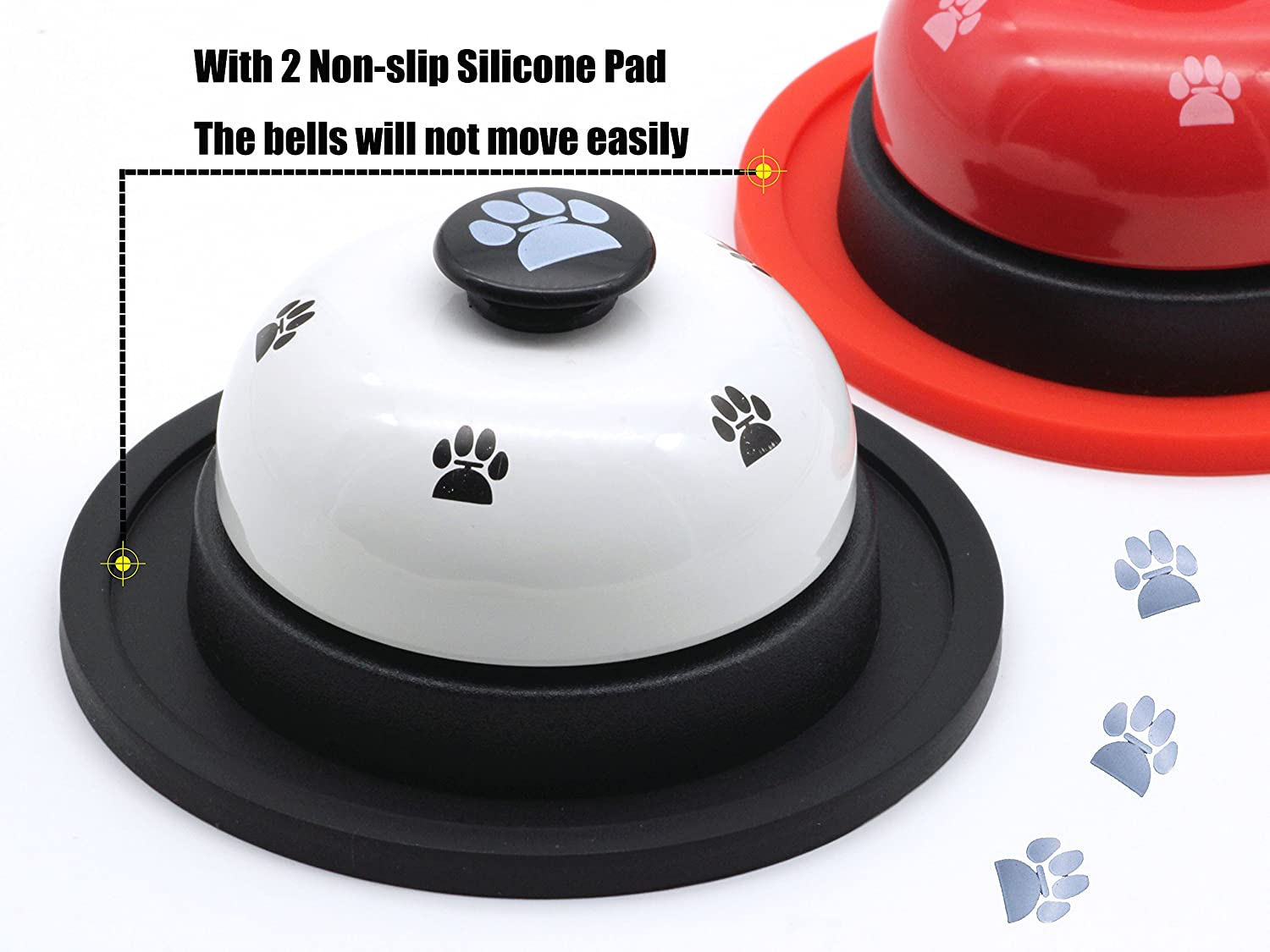 HOSANA Pet Training Bells Set of 2 with 2 Non-Slip Silicone Pad Dog Footprints Bells for Potty Training and Communication Device