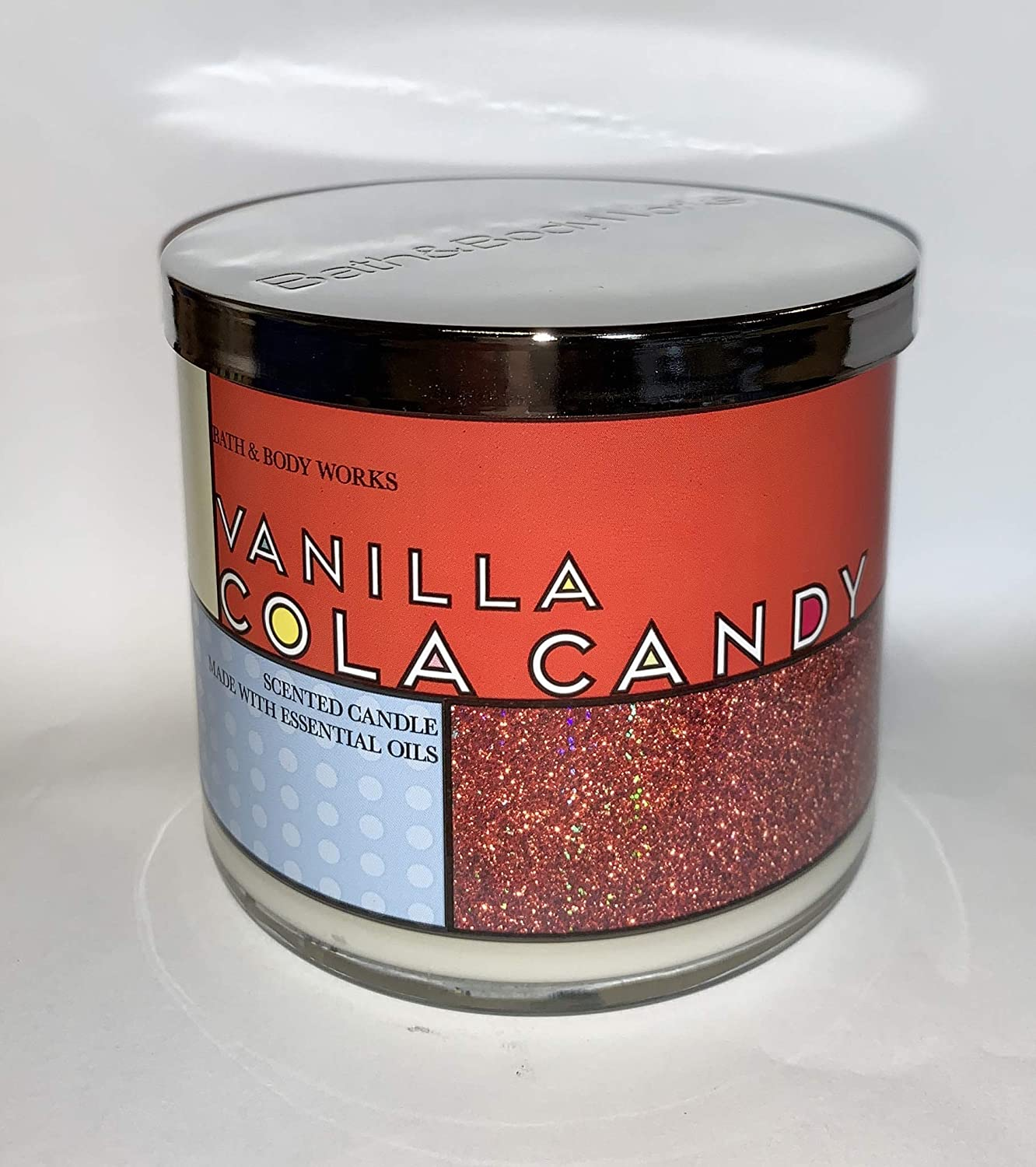 Bath and Body Works Vanilla Cola Candy Candle - Large 14.5 Ounce 3-Wick Candy - Discontinued Soda Scent Limited Edition