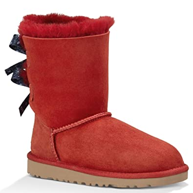 UGG Kids Girl's Bailey Bow Bandana (Big Kid) Matador Red Twinface Boot