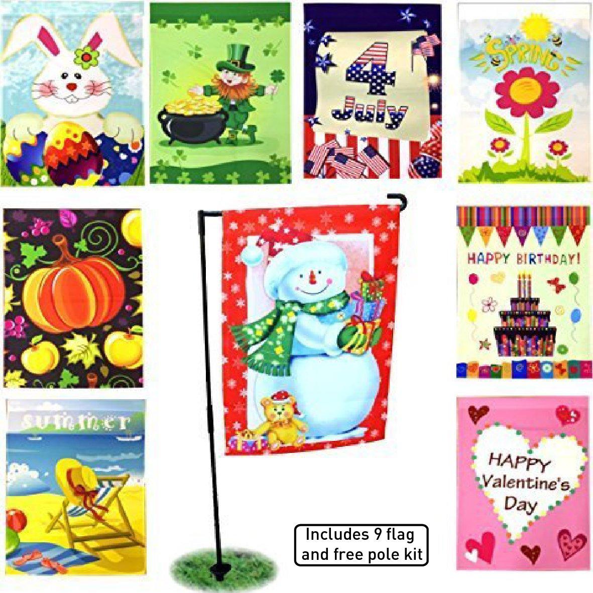 EasyGoProducts EGP-GARD-010 FBA_EGP-GARD-010 Seasonal Holiday Garden Flag Set – Christmas, Easter, Birthday etc…